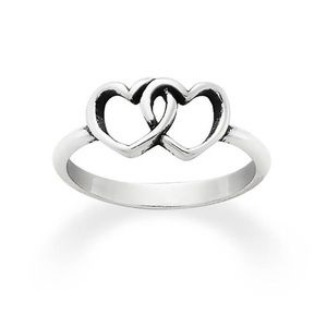James Avery Two Hearts Silver Ring Size 7💕